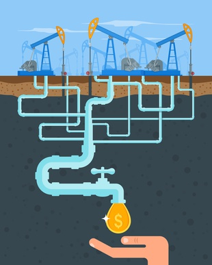 Transform oil to money concept. Get cash from oil pipe. Black gold. Oil pumps. Oil and gas industry.