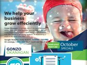 Gonzo Okanagan Online October Promotion 2017. Automotive, Restaurants, Real Estate, Wine and Dine, Retail, Hotels, Motels, Okanagan Online Marketing.