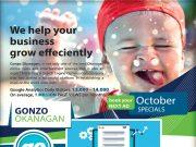 Gonzo Okanagan Online October Promotion 2017. Automotive, Restaurants, Real Estate, Wine and Dine, Retail, Hotels, Motels, Okanagan Online Marketing.