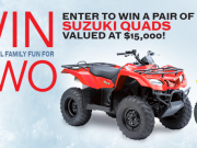 CONTEST TIME! Enter to win a pair of Suzuki Quads from Village Green Centre!
