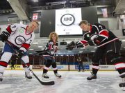 2017 Juno Cup Practice. Gary Roberts, Kathleen Edwards and Jim Cuddy have some fun rehearsing the ceremonial puck drop. The NHL Greats will play the Rockers, Friday, March 31. TD Place, Ottawa, ON. March 30, 2017. CARAS/iPhoto