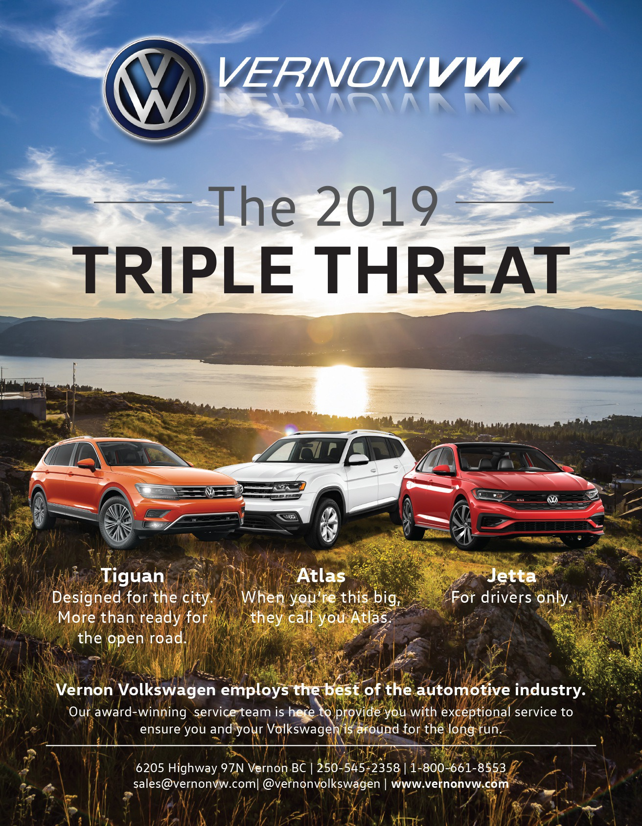 Vernon Volkswagen 2019 Triple Threat Ad - New and used auto dealership in Vernon BC